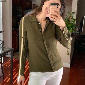Madewell Silk military green shirt S